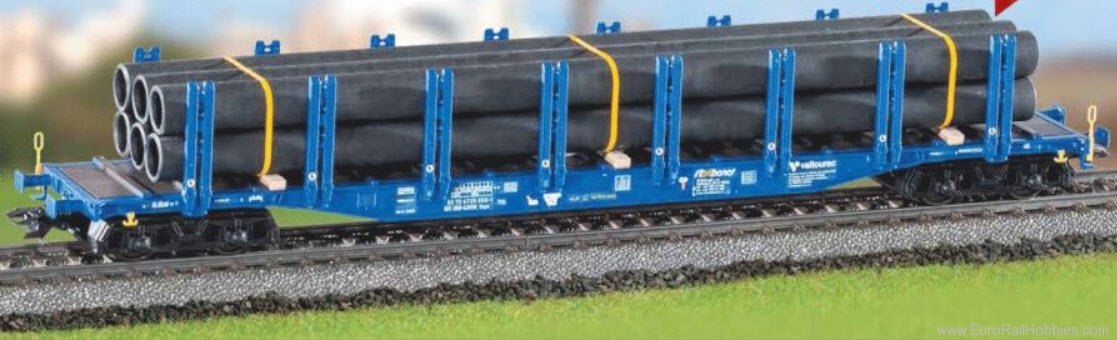 IDEE & SPIEL/EURO TRAIN Private type Snps 719 Double Stake Car w/Pipe Load for Marklin HO