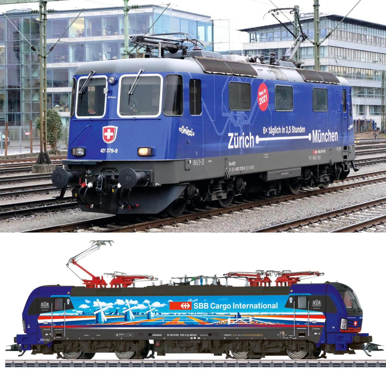NEW Marklin/Trix HO Swiss SBB Locomotives 'Hollandpiercer' and 'Zurich-Munich'
