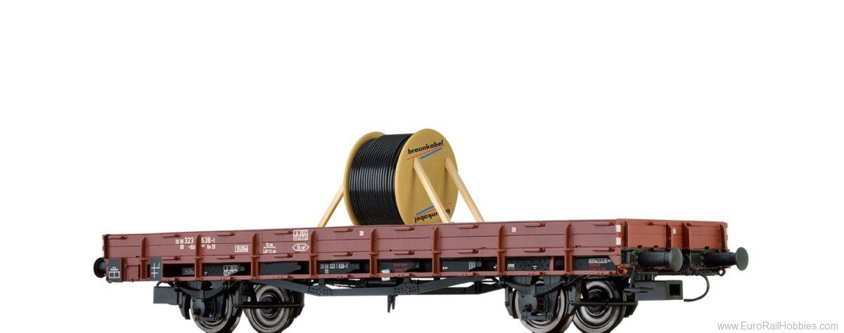 Brawa 48735 STAKE CAR KKLM 433 DB, WITH LOAD 'CABLE REEL'