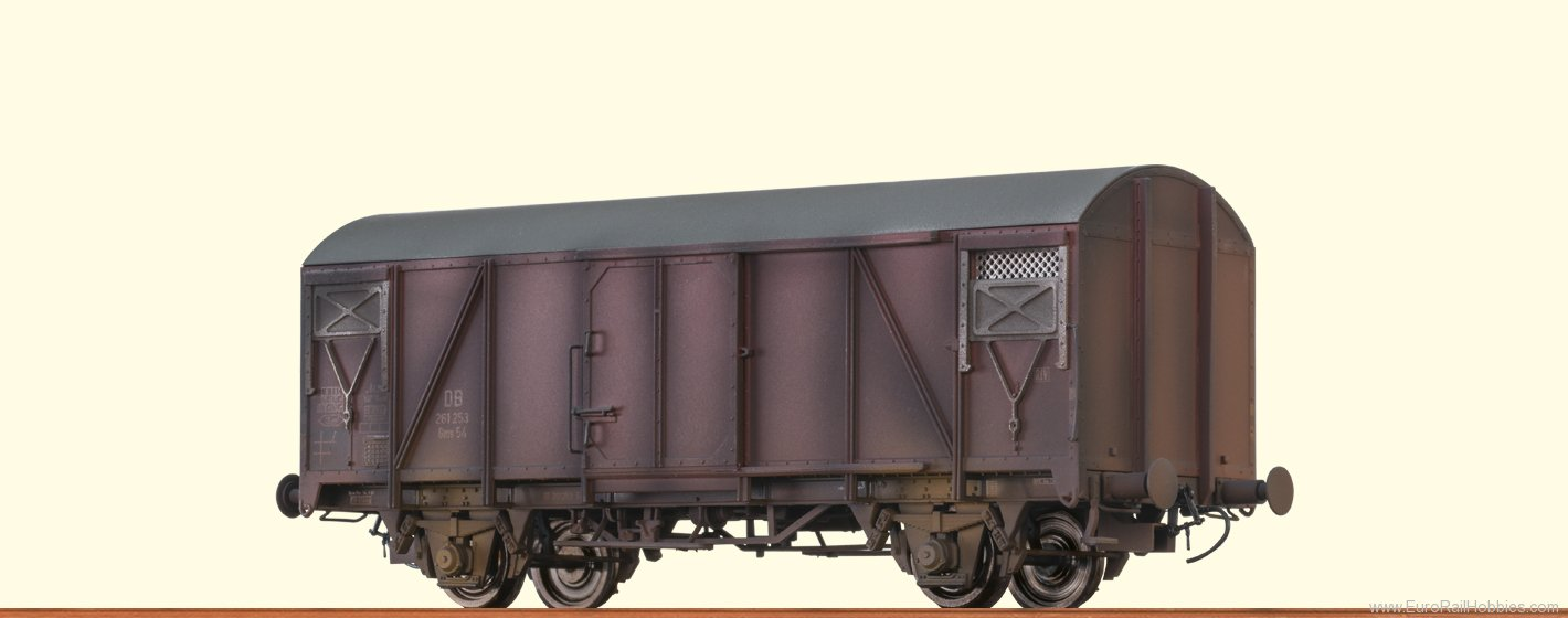 Brawa 48808 DB Covered Freight Car Gms54 (Weathered Editi