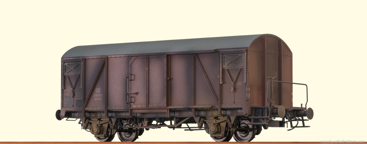 Brawa 48809 DB Covered Freight Car Gms54 (Weathered Editi