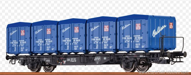 Brawa 49102 Container Car BTmms 58 DB, with Ekrt 212 'Bah