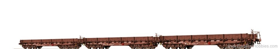 Brawa 67011 Flat Cars Samm DR, set of 3