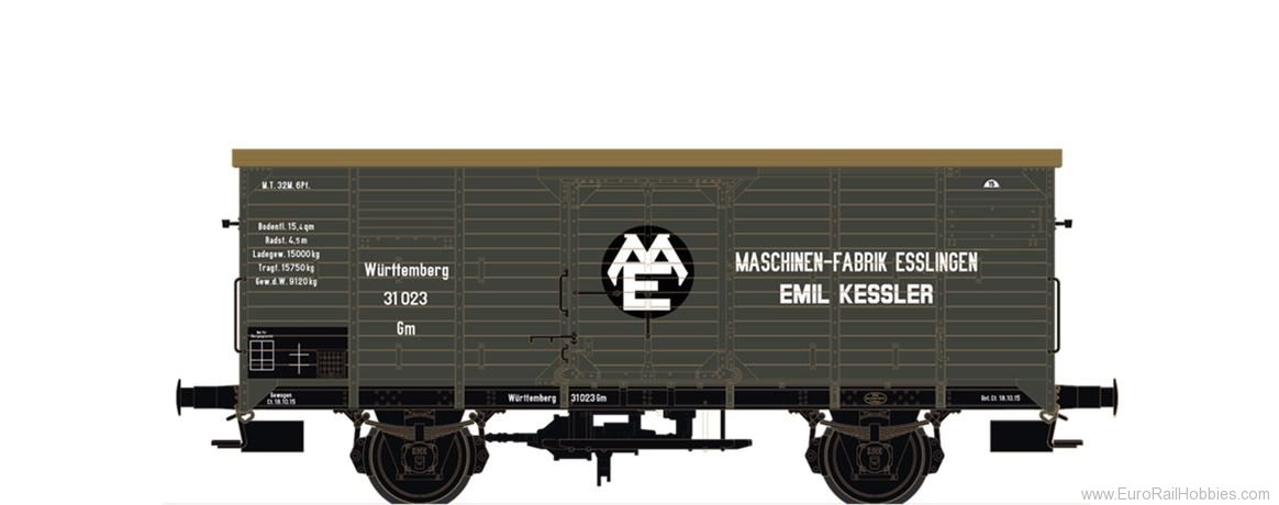 Brawa 67466 Covered Freight Car Gm Maschinenfabrik Esslin
