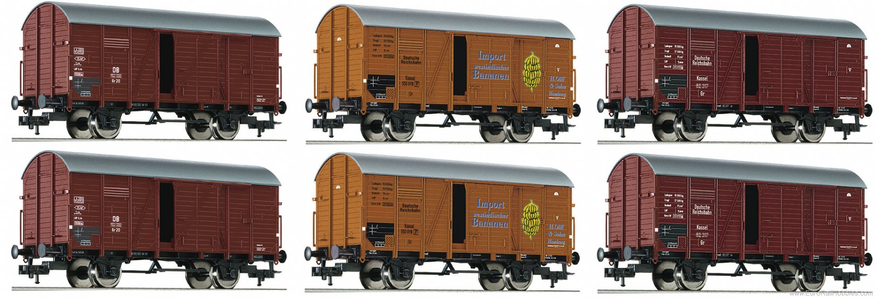 Fleischmann 533150 Display with 6 goods wagons type Gr 20, DRG /