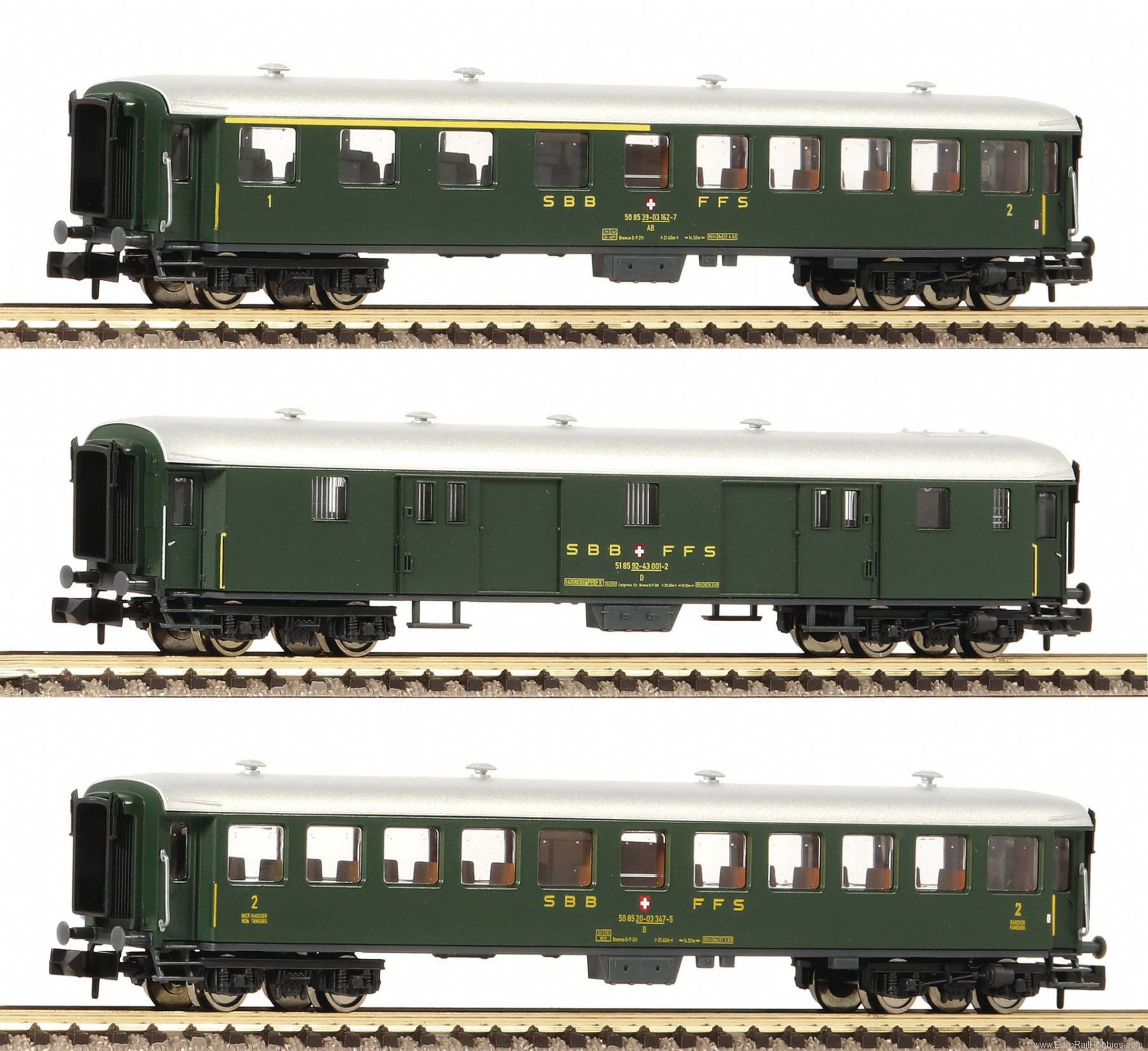 Fleischmann 881813 SBB 3 Piece Express Train Wagon Set