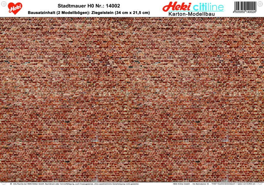 Heki 14002 Brick Wall - 3 Sheets - 34x21,5