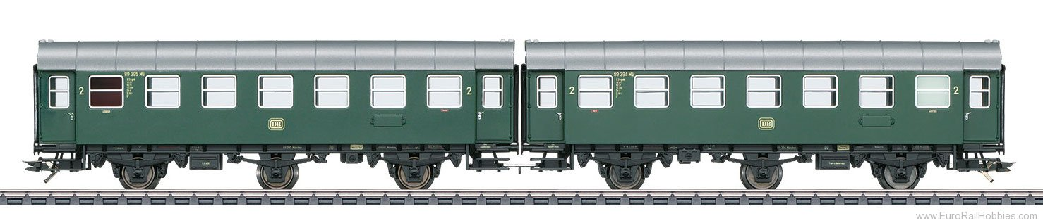 Marklin 43184 DB Pair of Passenger Cars, Type B3ygeb w/Buil