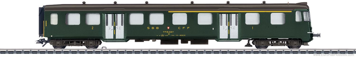 Marklin 43411 SBB Lightweight Steel Cab Control Car, 1st/2n