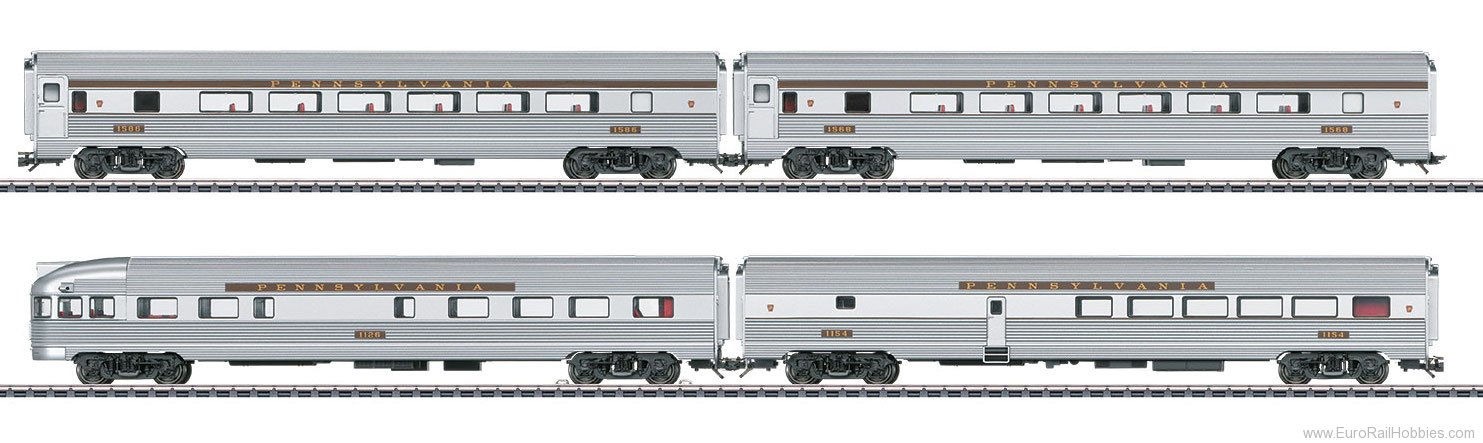 Marklin 43616 PRR Streamliner Passenger 4-Car Set, (Aluminu