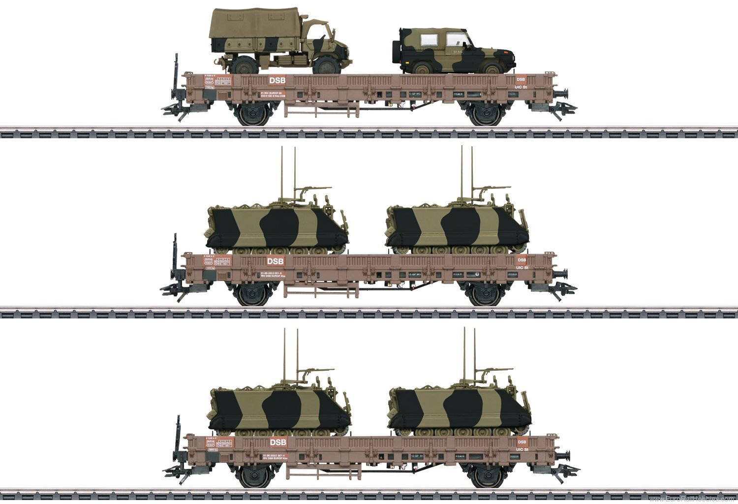 Marklin 46934 DSB Military Transport Low Side Car Set