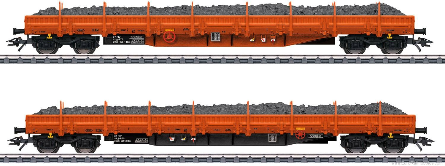 Marklin 47099 'RTS' Ballast Transport Low Side Car Set w. B