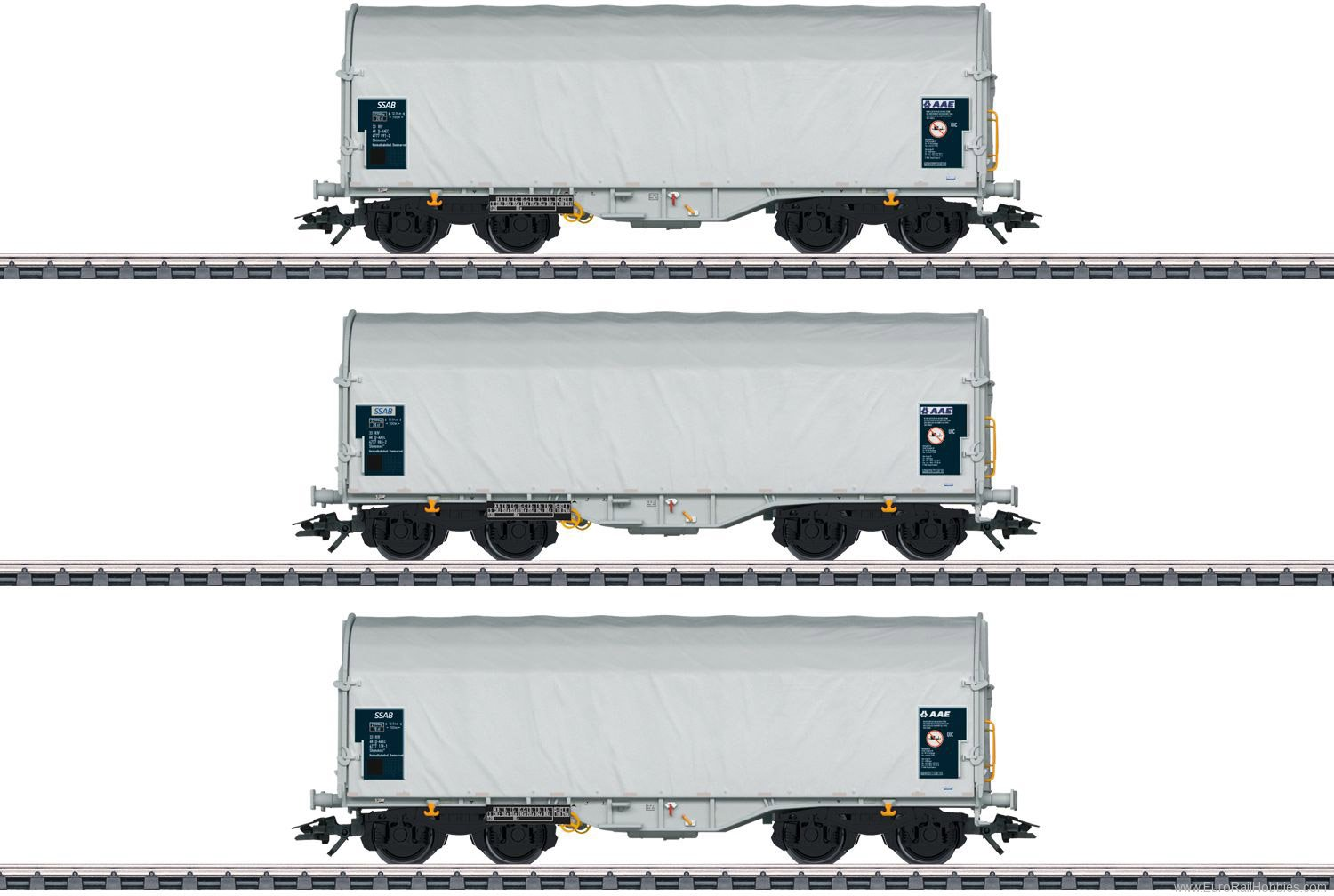 Marklin 47219 SSAB Type Shimmns 62 Sliding Tarp Car Set