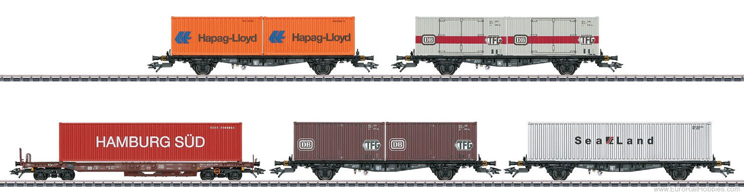 Marklin 47689 DB Container Flat 5-Car Set,  (MHI Exclusive