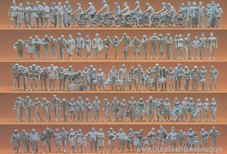 Preiser 16337 HO Unpainted Figure Set -- Passengers