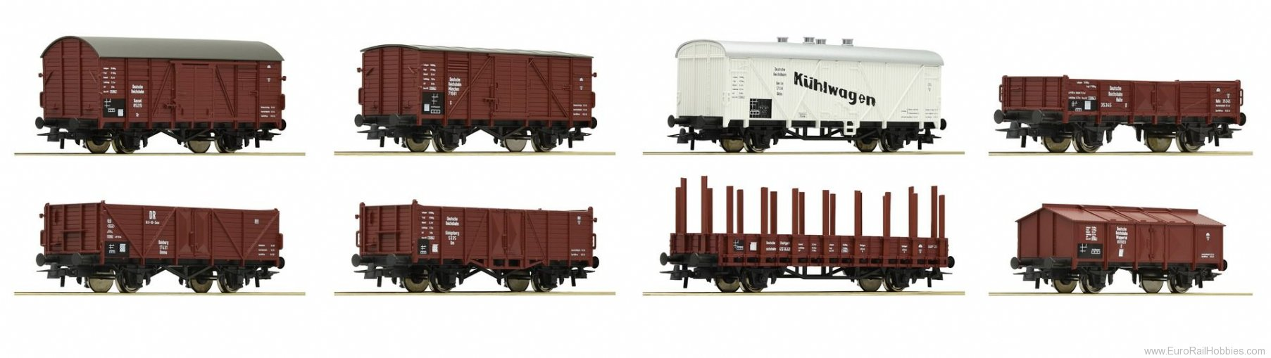 Roco 44003 8-piece set of freight cars, DRG