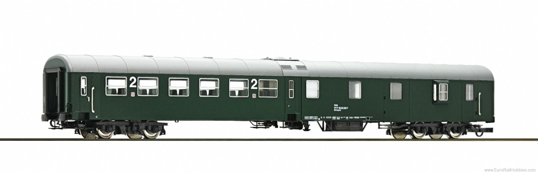 Roco 64670 2nd class center entry coach with baggage com