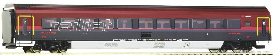 Roco 64713 OBB Railjet-Economy Coach w. LED Lighting