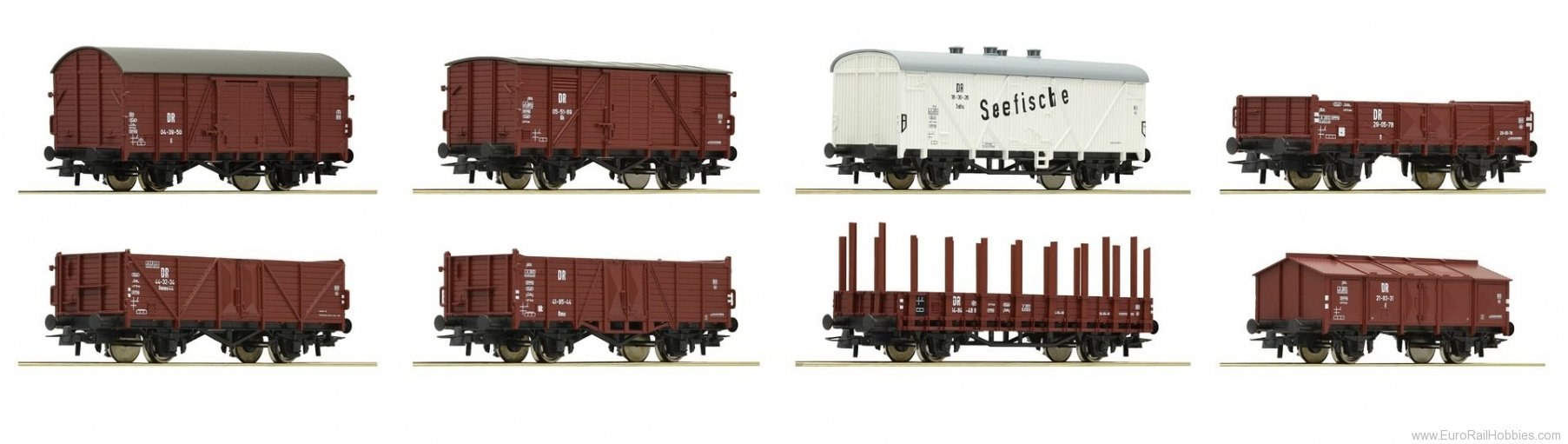 Roco 67127 8-piece set freight cars, DR