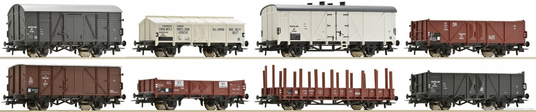 Roco 67128 Set of 8 goods wagons, NS