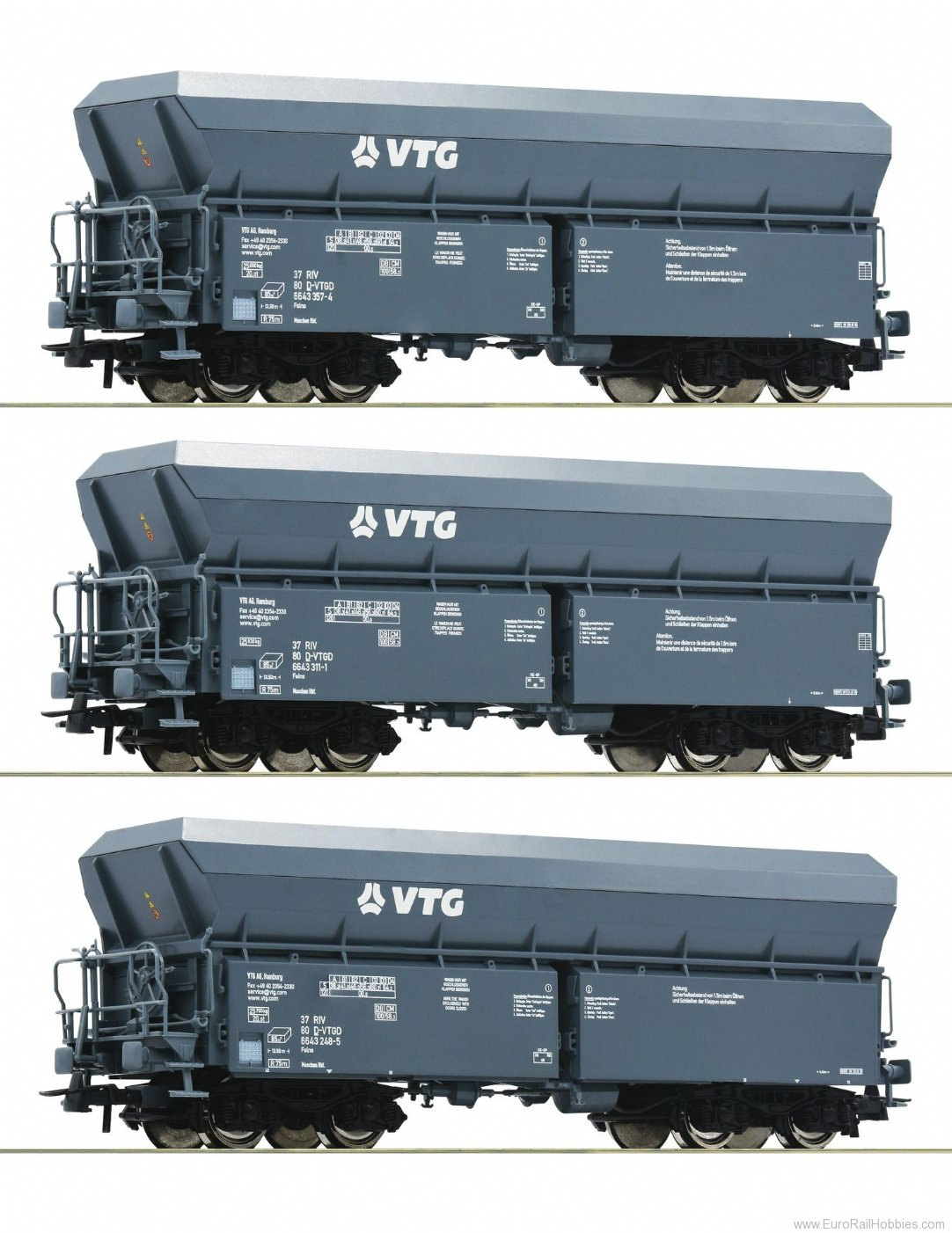 Roco 76092 3 piece set: Self-unloading hopper wagons, VT