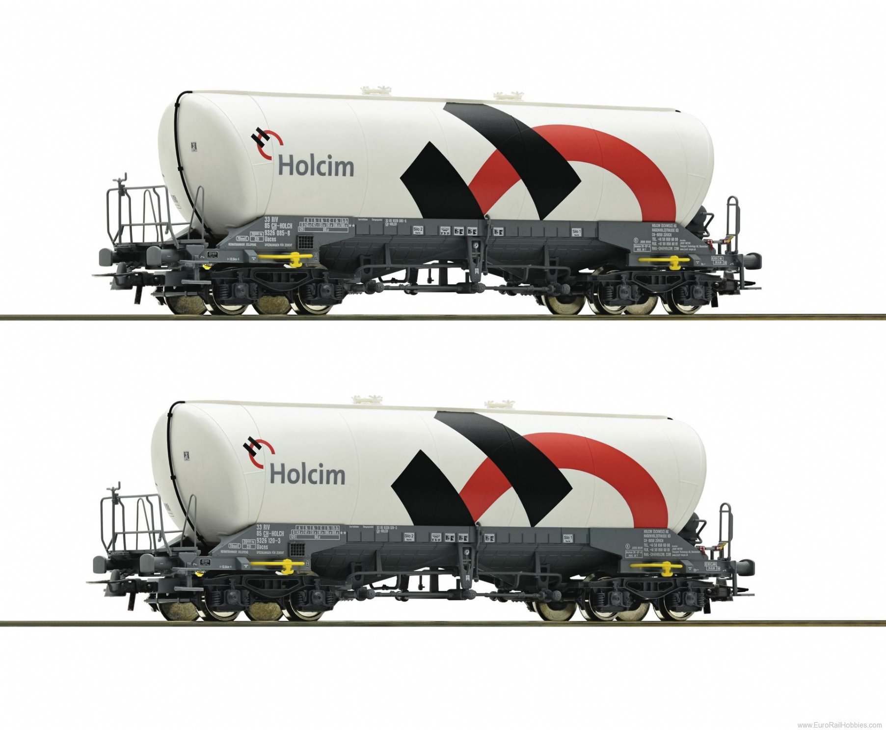 Roco 76145 2 piece set silo wagons, Holcim