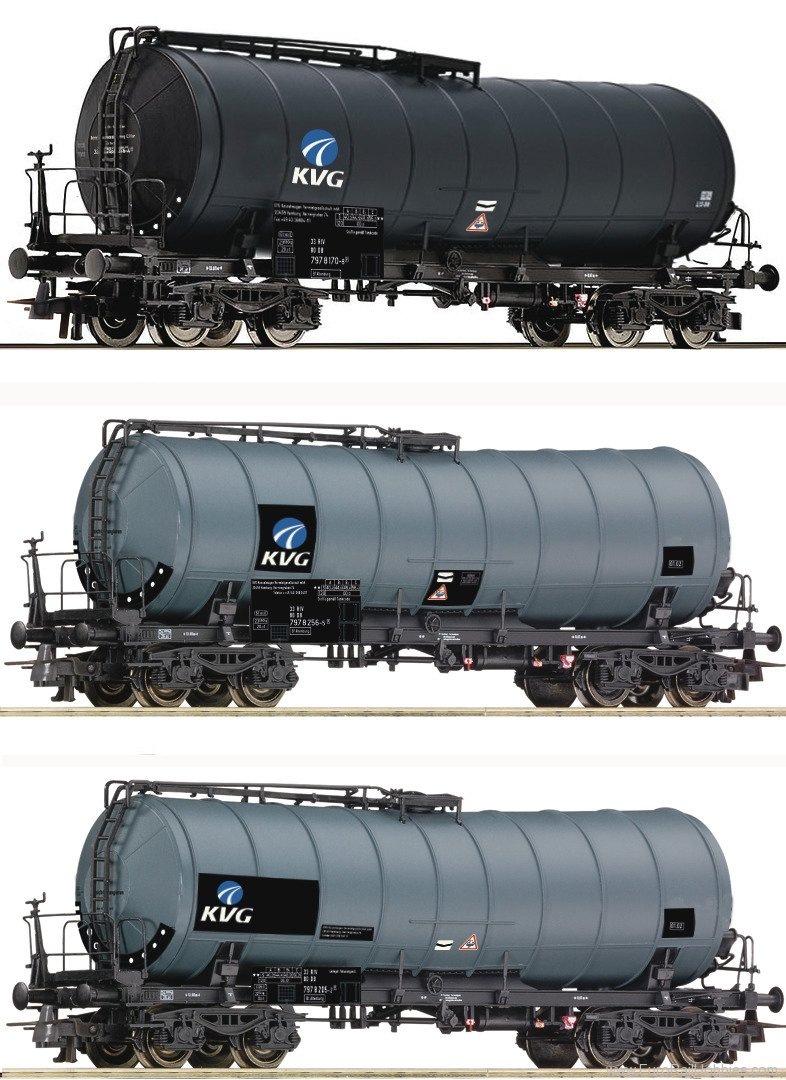 Roco 76156 3 piece set slurry wagons 'KVG', DB-AG
