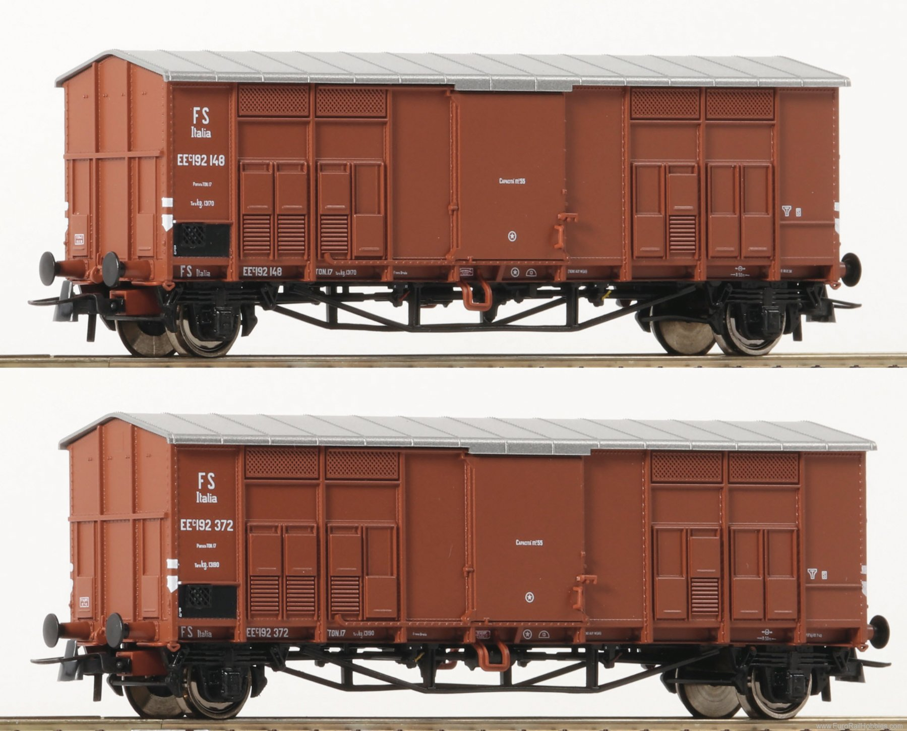 Roco 76162 Roco FS Pitched Roof Wagons, 2 Piece Set - (N