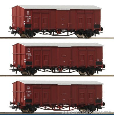 Roco 76163 Roco FS Pitched Roof Wagons, 3 Piece Set - (N