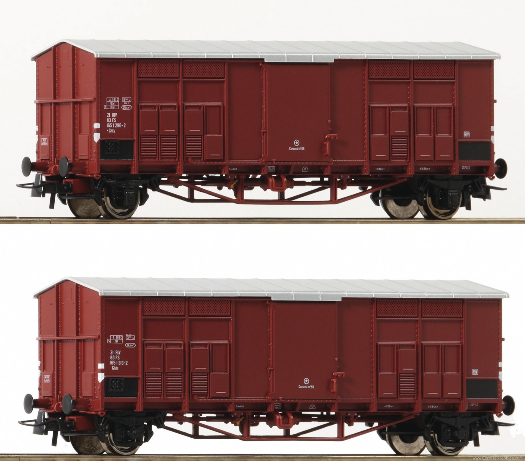Roco 76164 Roco FS Pitched Roof Wagons, 2 Piece Set - (N