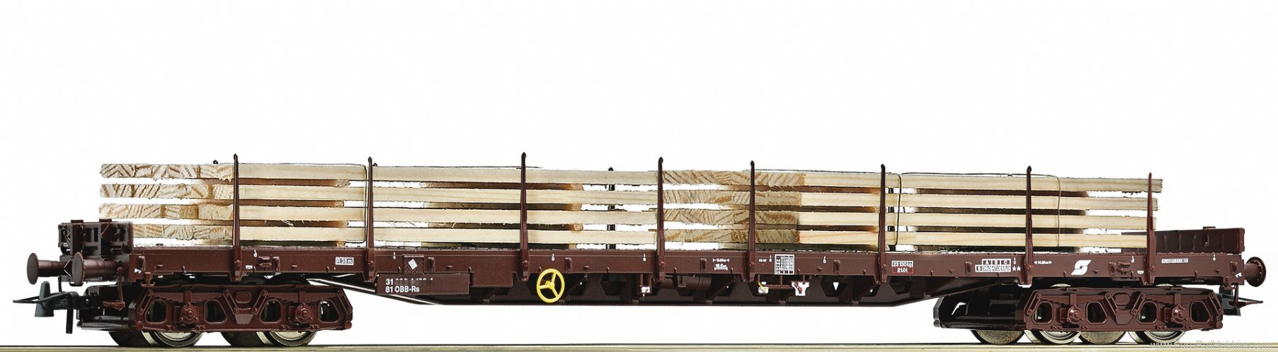 Roco 76772 Stake wagon that carries wood stacks, OBB