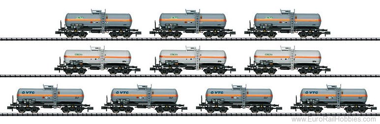 Trix 15414 Display with 10 DB AG Chlorine Gas Tank Cars