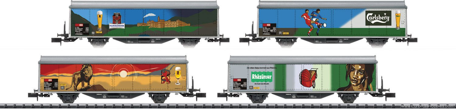 Minitrix 15610 Type Hbils-vy Sliding Wall Boxcar Set