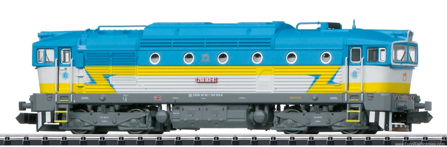 Minitrix 16733 ZSSK Cl. 750 Diesel Locomotive  DCC w/Sound (