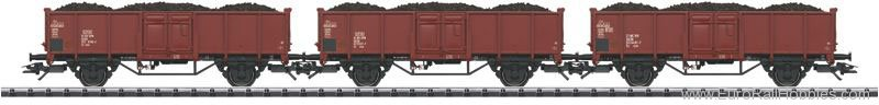 Trix 24434 DR 3 Piece Brown Coal Freight Car Set (w/real
