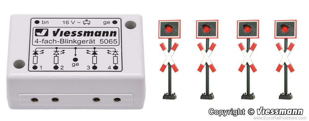 Viessmann 5835 HO St. Andrew's cross, 4 pieces with blinking