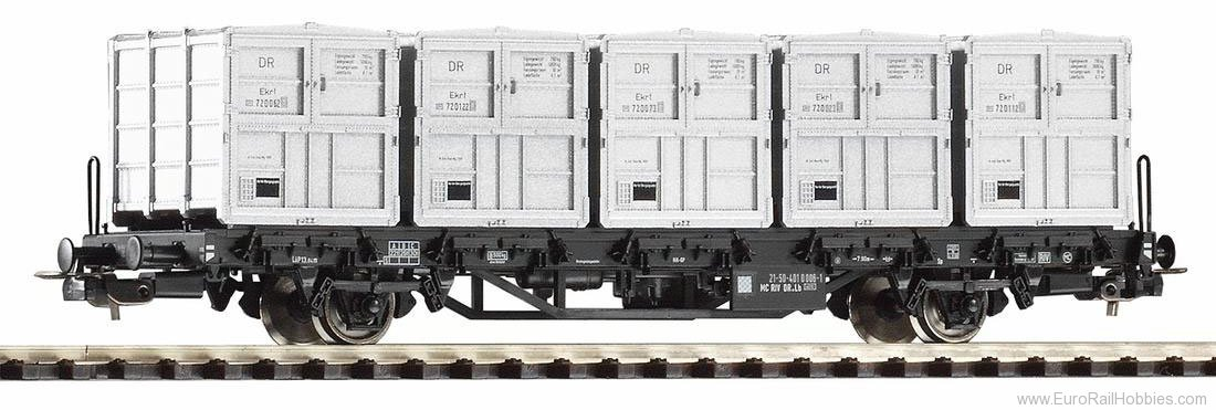 Piko 54428 Flatcar w/5 Containers Btmm DR IV